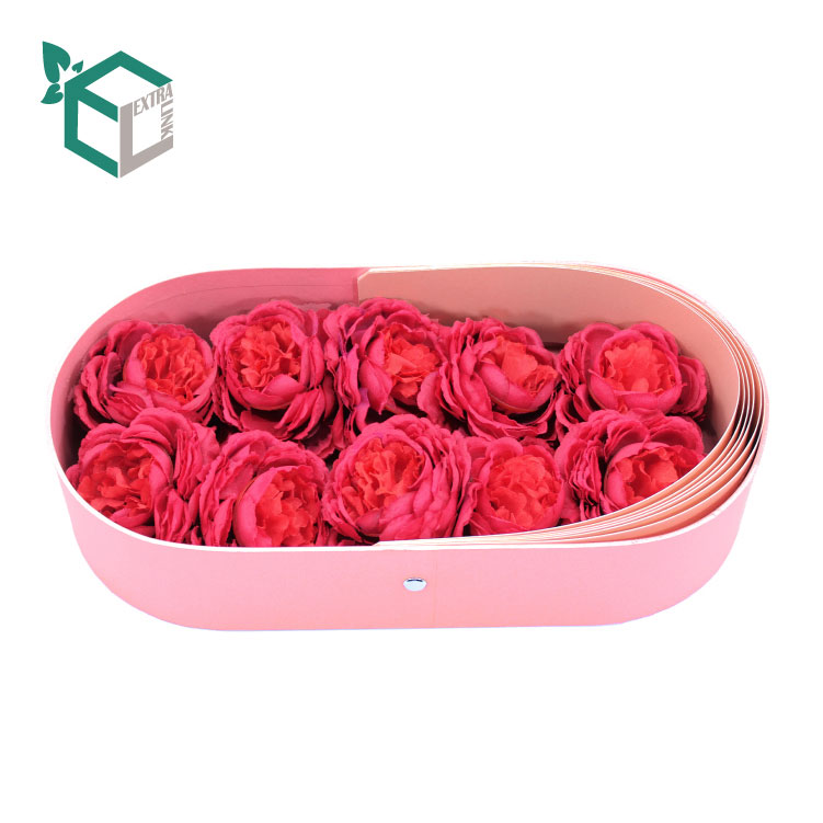 Round Corner Rectangle Pink Custom Flower Box From China