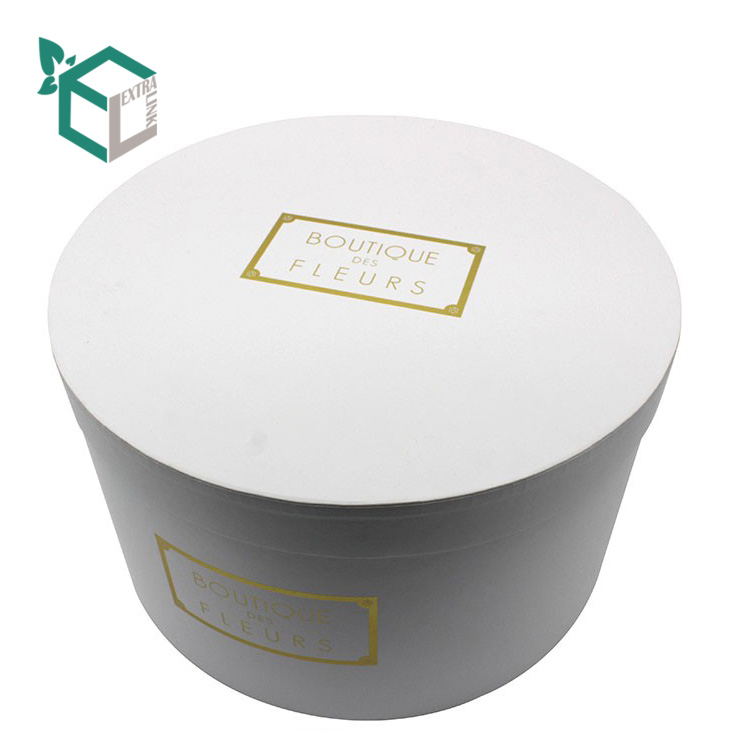 White Round Flower Box Logo Hot Stamping China Factory Wholesale