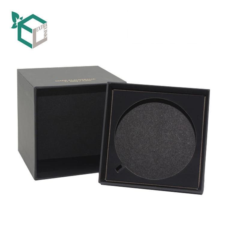 Black Square Shape Custom Paper Perfume Box With Paper Insert