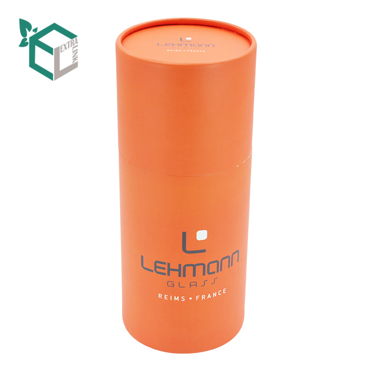 Luxury Orange Color Printing Glossy Fancy Round Paper Tube Packaging