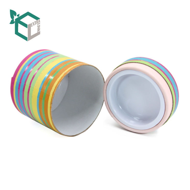 Colorful Soft Touch Film Printing Paper Tube With Plastic Lid