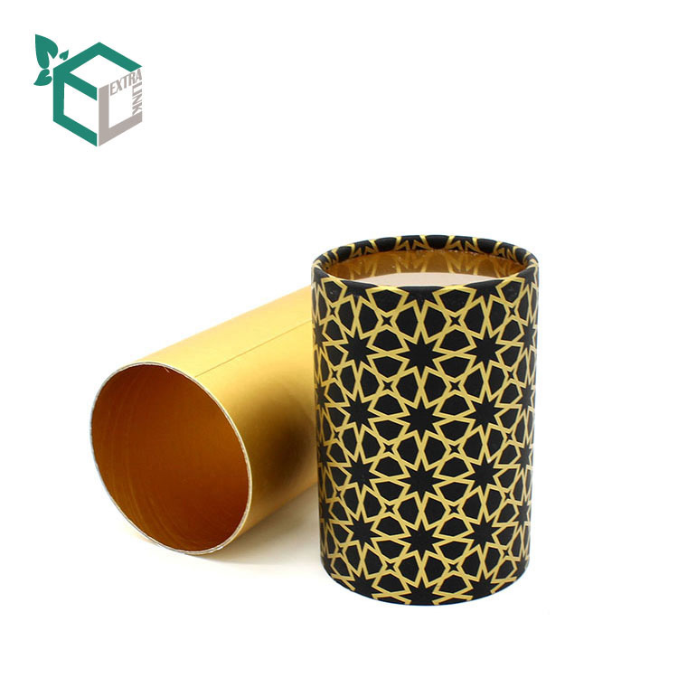 Luxury Gold Pattern Printing Gold Card Material Paper Tube For Foods