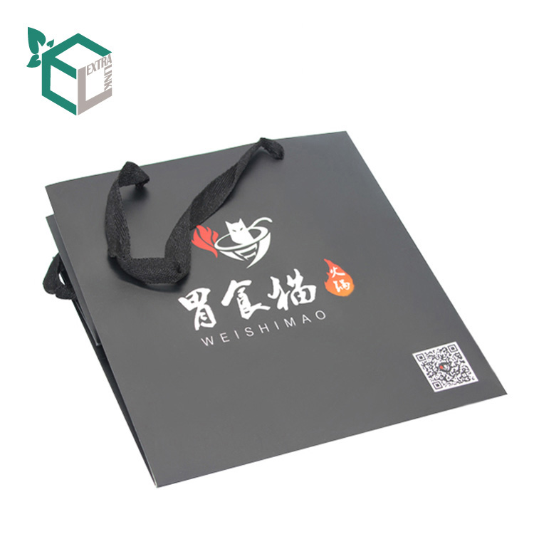 Elegant Black Shopping Bags Recycled Large Capacity Paper Bag For Food