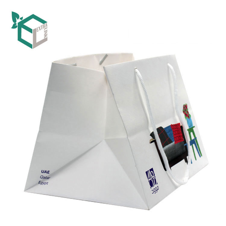 White Art Paper Shopping Storage Bags With Custom Printing Big Size