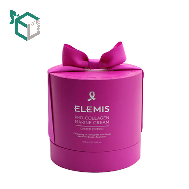 Luxury Pink Round Paper Candle Box With Ribbon