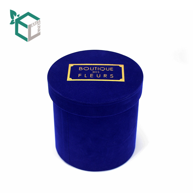 Dark Blue Velvet Foiling Gold Logo Paper Tube Box