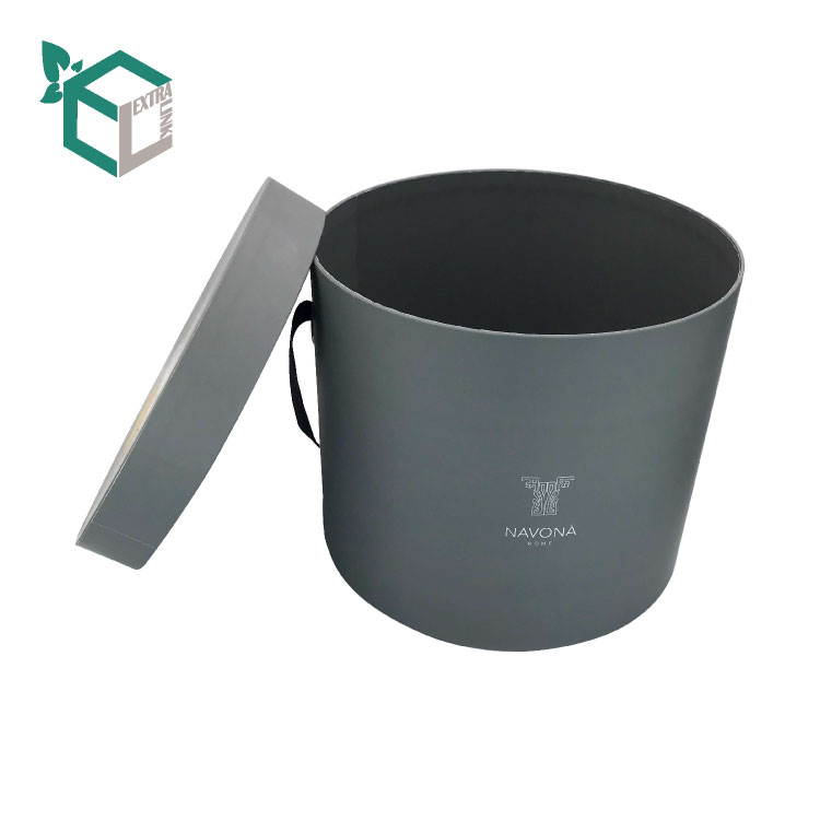 Grey Custom Large Hat Box Paper Tube With Handle