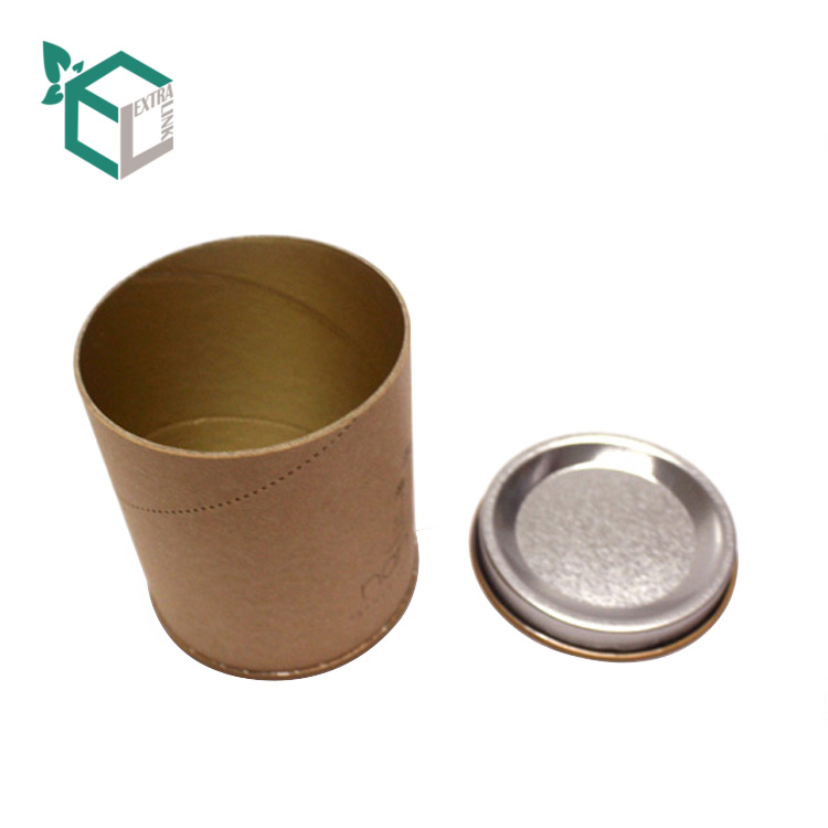 High Quality Kraft Paper Metal Lid Custom Round Tea Box