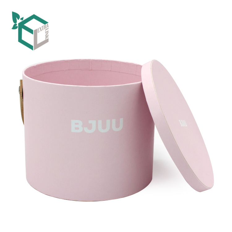 Luxury Pink Velvet Paper Round Flower Box With Handle