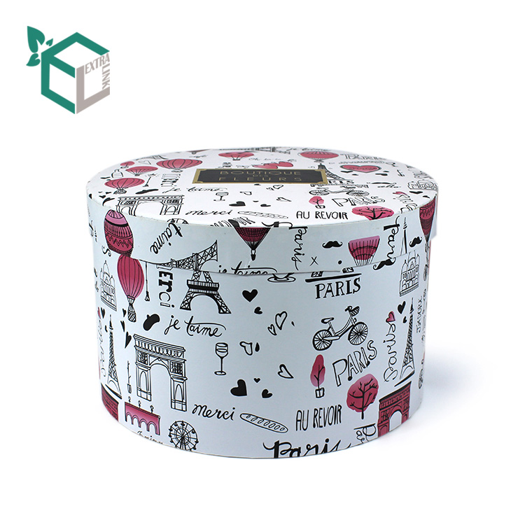 Rose Pattern Printing Round Box For Flower