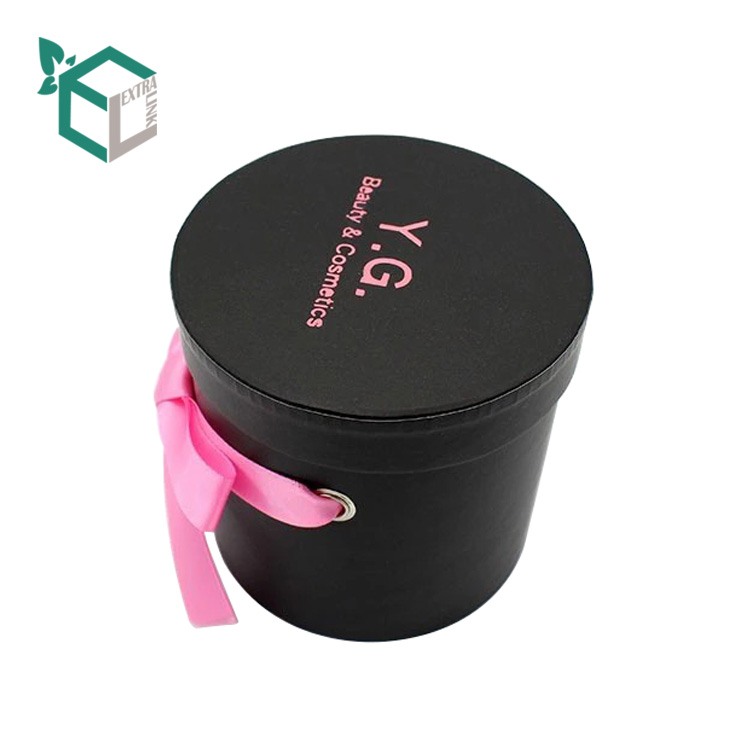 Custom Black Printing Wedding Candy Gift Paper Tube With Pink Ribbon Decoration