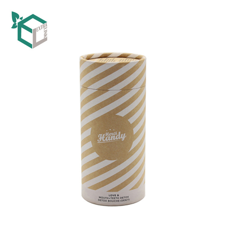 Kraft Stripe Line Pattern Brown Original Material Paper Tube For Pen
