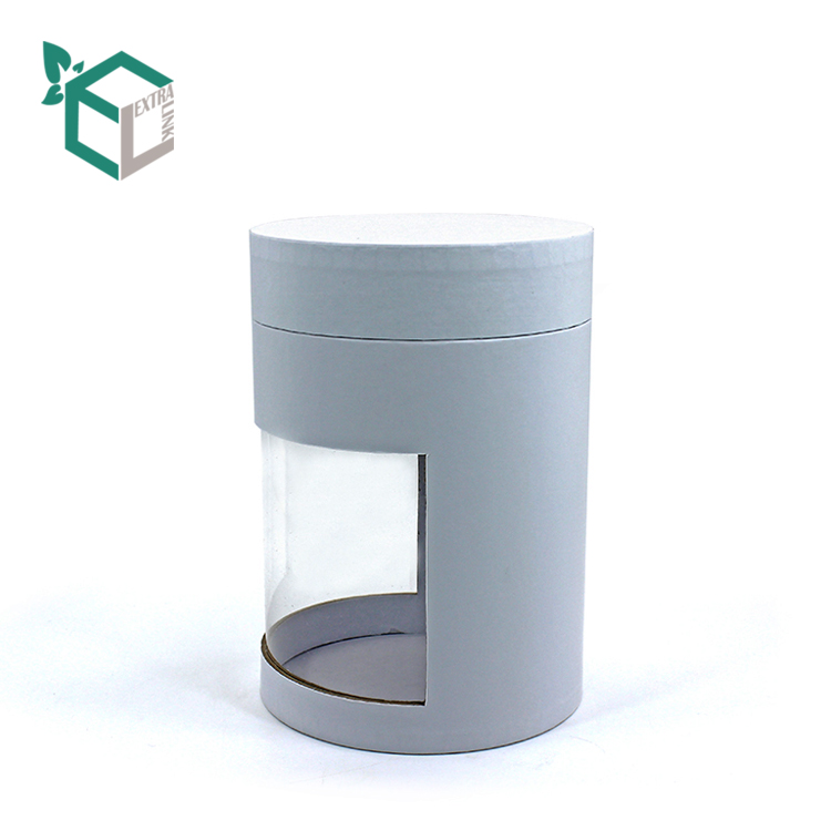 High Quality White Paper Tube Box With Pvc Windows