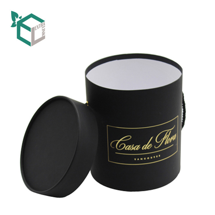 Cylinder Tube Box Logo Hot Stamping Flower Packaging With Rope Handle