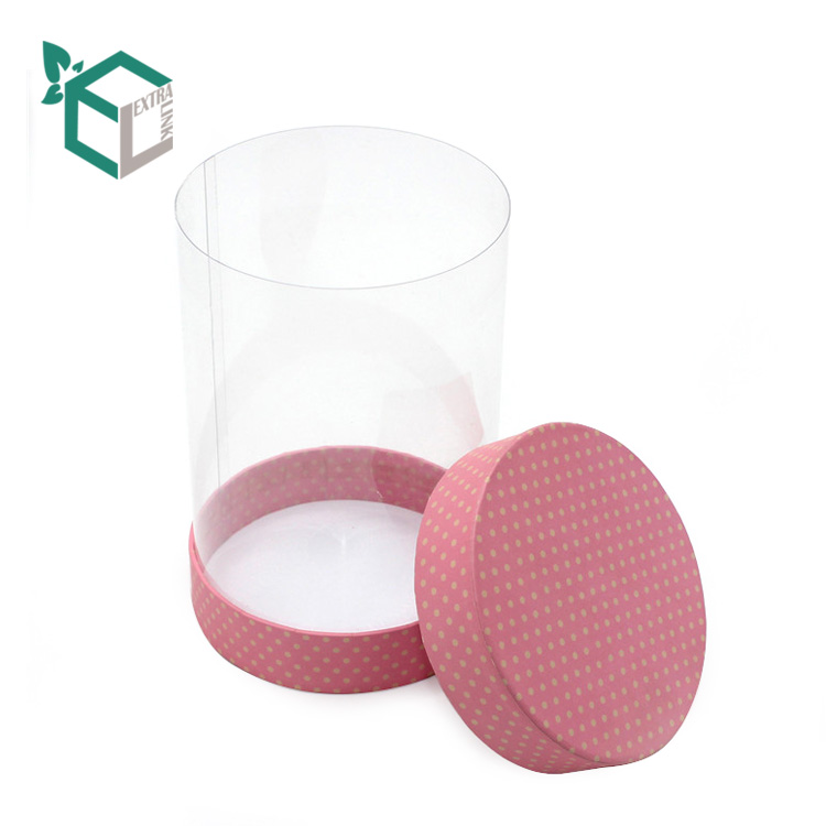 High Qualtiy Pink Lid Paperboard Bottom Pvc Paper Tube