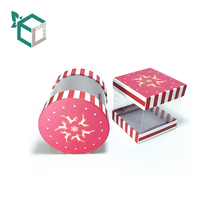 High Qualtiy Stripe Line Pattern Printing Pvc Round Box Packaging